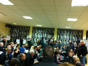 RNU activists disrupt a meeting of the PSNI in a West Belfast parish hall. 2012.