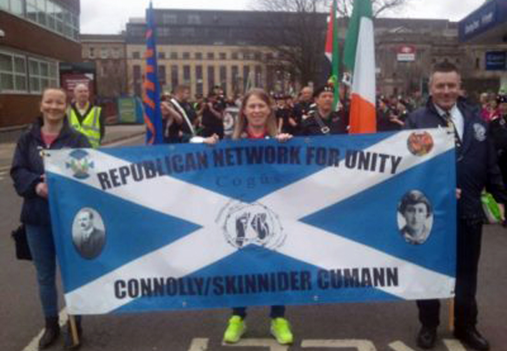 Banner of the RNU Connolly/Skinnider Cumann Scotland